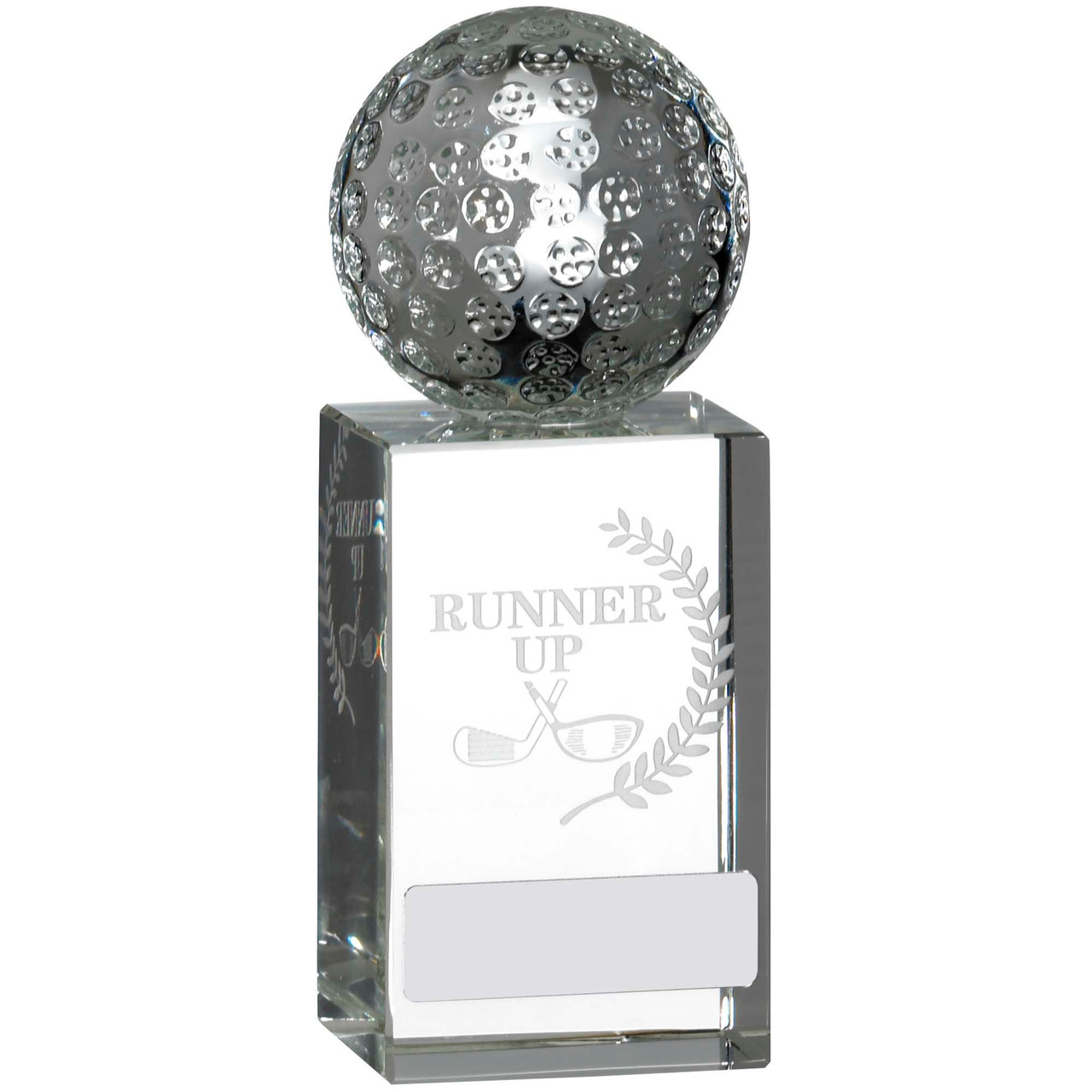 """Full 3D Golf Ball on Laser engraved glass Runner Up Award 5.25"""""""