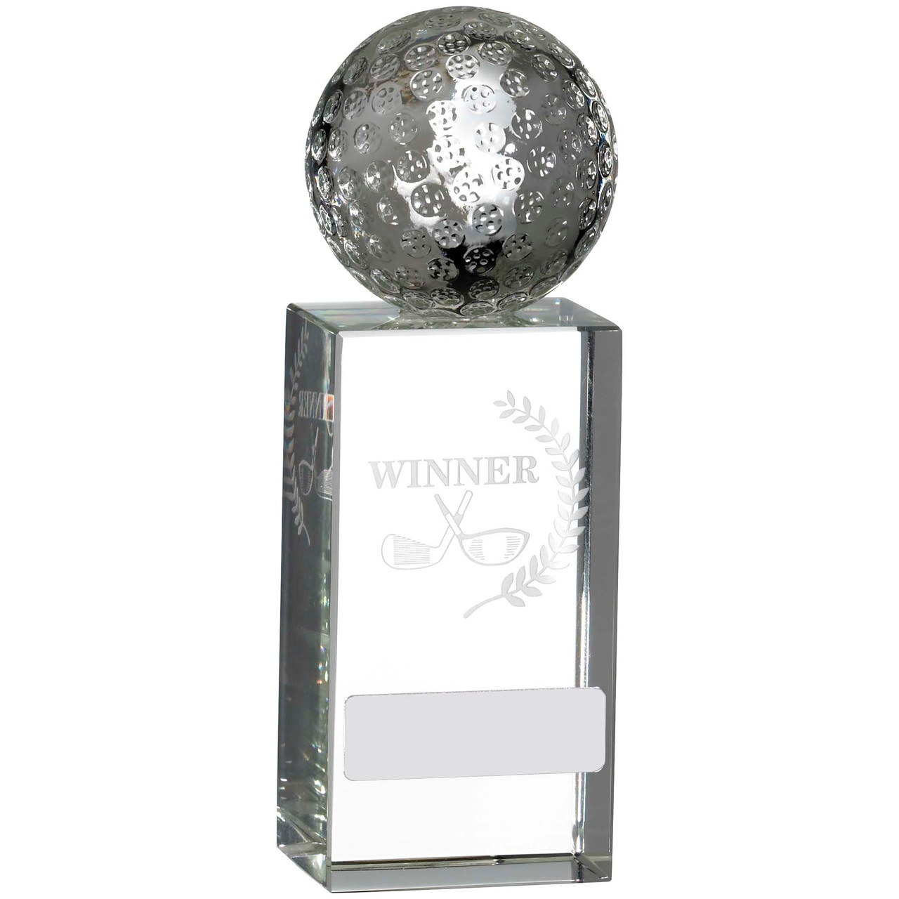 """Full 3D Golf Ball on Laser engraved glass WINNER Award 6"""""""
