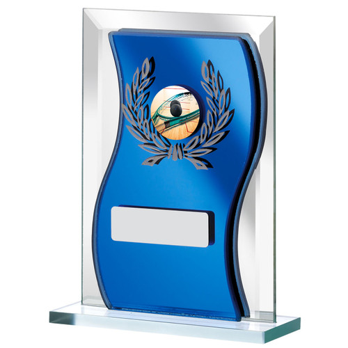 Curved blue mirrored glass trophy for any sport or activity available in 3 sizes