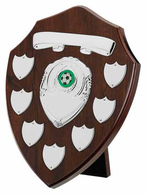 Cherry 7 Year Presentation Shield with 9 silver engraving plates