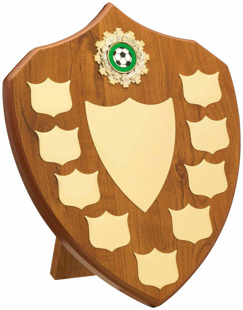 9 Year budget maple wood presentation shield with large centre shield for engraving.