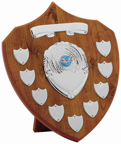 Maple 9 Year Presentation Shield with 11 silver engraving plates