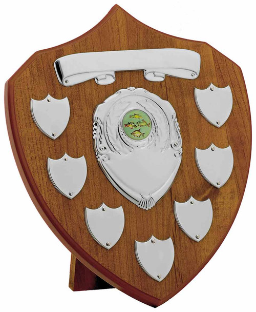 Maple 7 Year Presentation Shield with 9 silver engraving plates