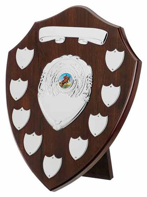 Cherry 9 Year Presentation Shield with 11 silver engraving plates