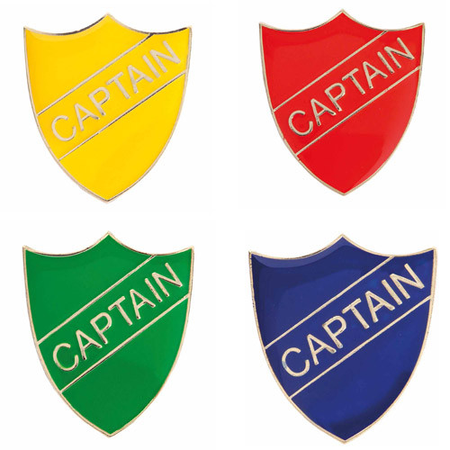 CAPTAIN ENAMEL SHIELD BADGE