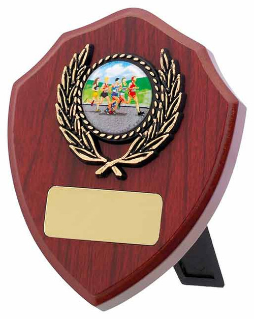"""4"""" Mahogany multisport or activity wooden shield available in 3 sizes with FREE engraving!"""