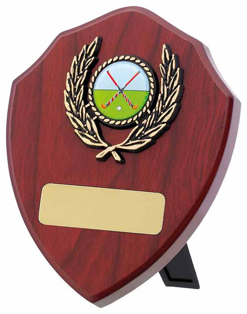 """5"""" Mahogany multisport or activity wooden shield available in 3 sizes with FREE engraving!"""