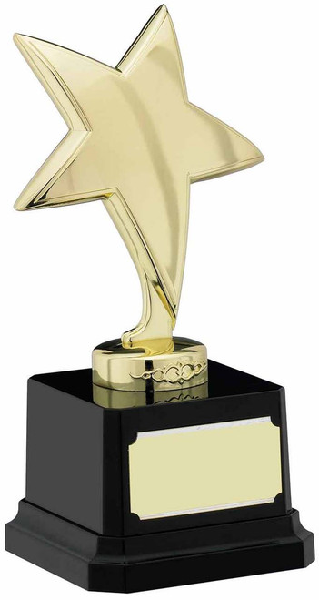Gold finish achievement star award. Beautiful trophy with free engraving.
