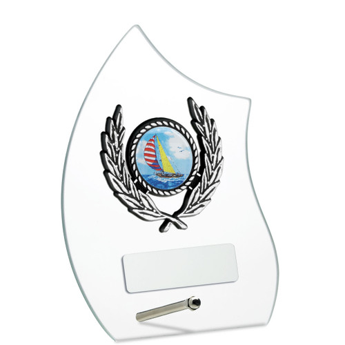 Beautiful clear glass laurel multi sport award
