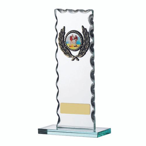 Slim Rectangular jade glass chiseled patterned any sport trophy