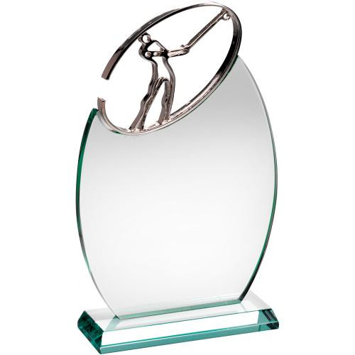 METAL GOLF FIGURE JADE GLASS AWARD