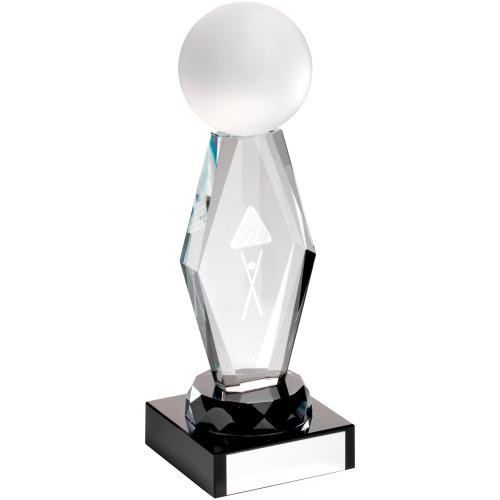 Exquisite glass snooker and pool trophy includes a FREE quality presentation box