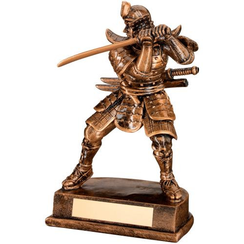 Samurai Warrior raising sword trophy. A superior affordable Martial Arts award that includes FREE personalised engraving.