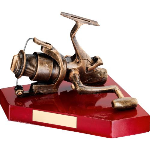 Replica fishing reel angling award that includes FREE personalised engraving.