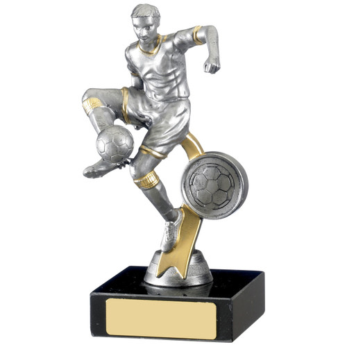 B0233 antique silver budget football trophy with free engraving