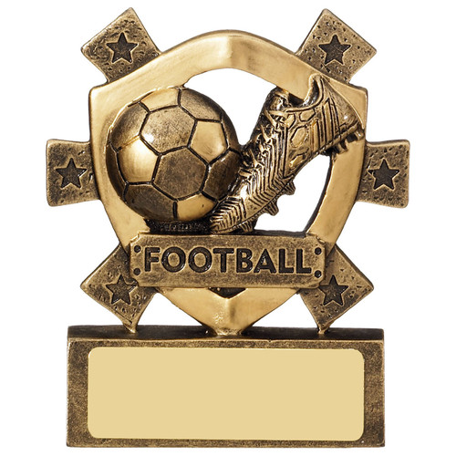 Miniature football budget cheap low cost Award boot and ball team trophy