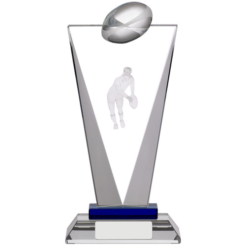 Exquisite Pinnacle crystal glass rugby trophy with 3D laser image with FREE silk lined presentation box