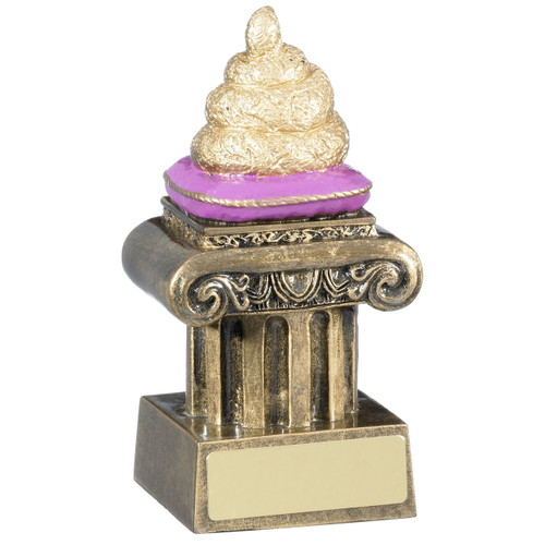 Rude novelty Poo on a throne Award. Fun, joke, comic Trophy!