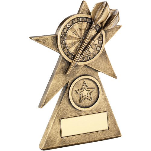 Darts and dartboard star trophy available in 3 sizes with FREE personal engraving.