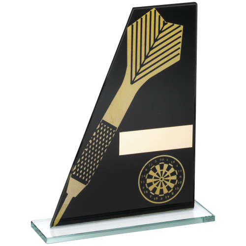 Black and gold glass darts award with dart and dartboard plus FREE engraving!