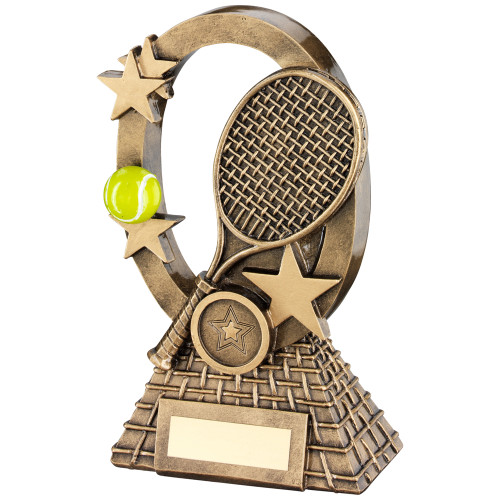 Oval Star Frame Tennis trophy available in 2 sizes with FREE personalised engraving and standard insert.