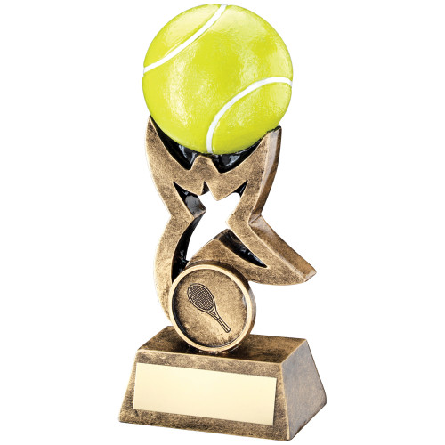 Stunning 3D yellow tennis ball supported by a gold star Award available with FREE engraving