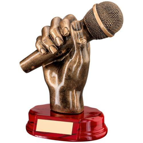 Music trophy, microphone in hand. This award includes FREE engraving.