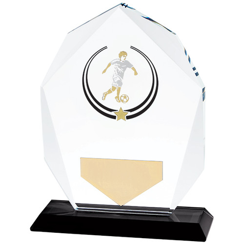 Glass hand painted football trophy award