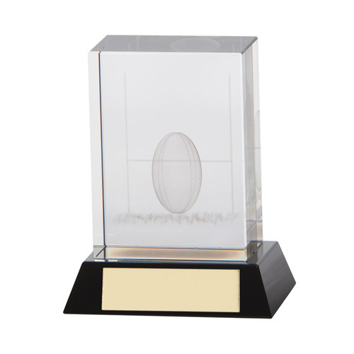 Beautiful crystal glass 3D image rugby trophy