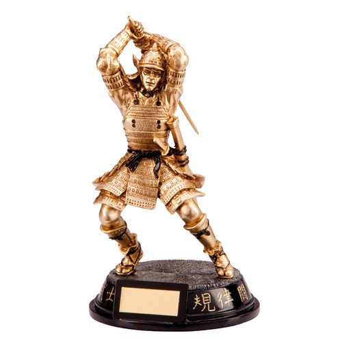 Stunning samurai warrior with sword martial arts gold finsih