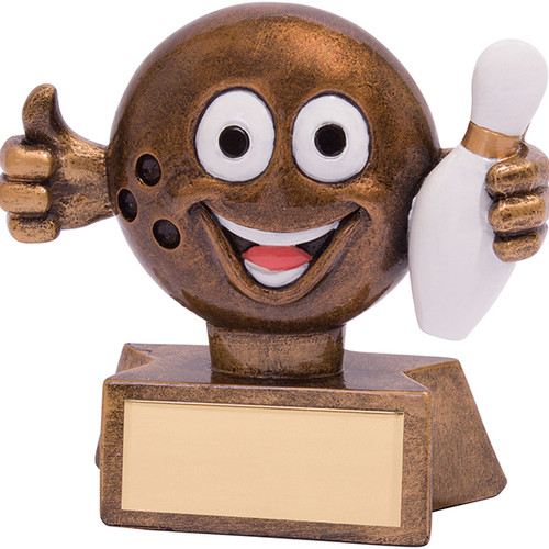 Smiler Ten Pin Bowling award gold finish novelty trophy
