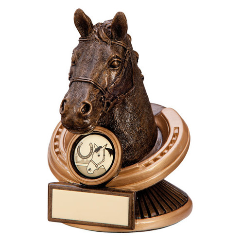 Endurance detailed 3D horse head in horse shoe equestrian award
