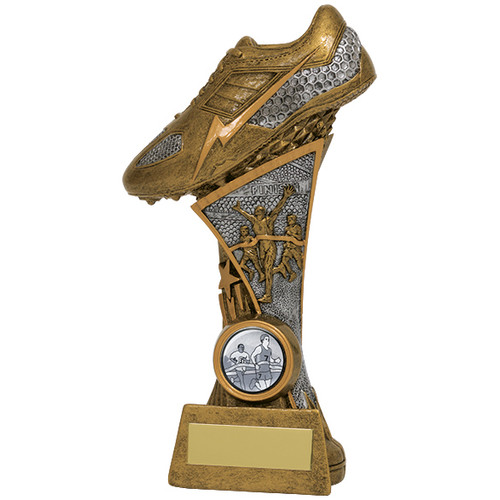 Century running spike athletics award in gold and silver finish
