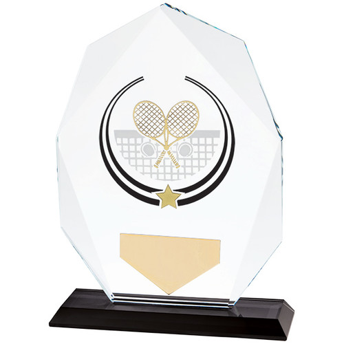 Glacier Tennis premier glass hand painted award