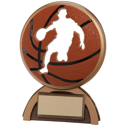Superb basketball award silhouette player in ball trophy prize