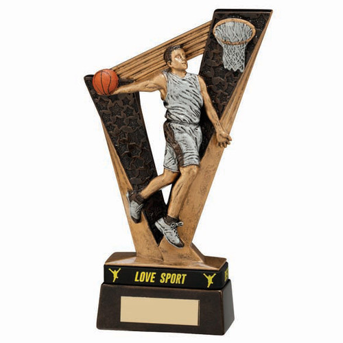 Victory Basketball trophy player shooting ball in hoop award