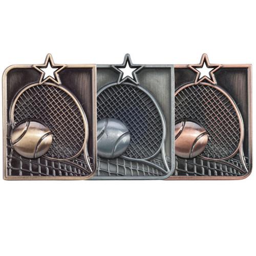 Centurion Star Tennis 3D high relief die cast budget cheap best price medals