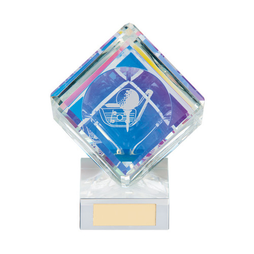 Victorious affordable cube crystal golf trophy