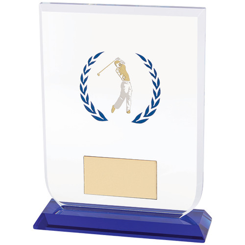 Gladiator premium glass golf trophy available in 3 sizes at the best prices