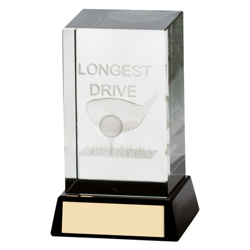 Lanark longest drive golf crystal trophy with 3D image