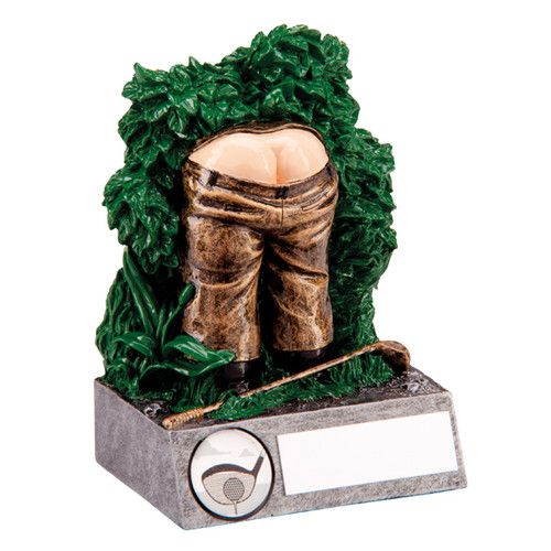 Lost Balls! Golf trophy rude bum golfer in bush novelty award with FREE Engraving