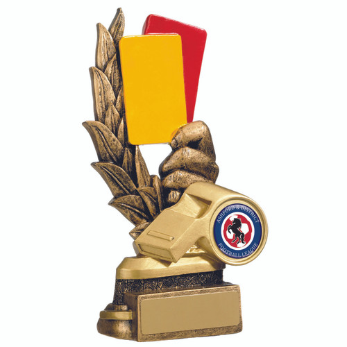 Whistle Red and Yellow Cards resin football referee award