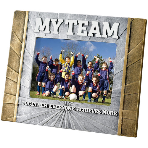 Football MY TEAM photo frame in silver and gold FREE PERSONALISED engraving