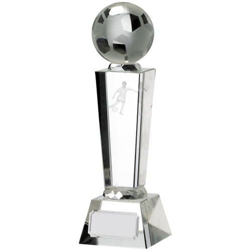 Victory Glass Football Trophy with full 3D ball at sensible prices