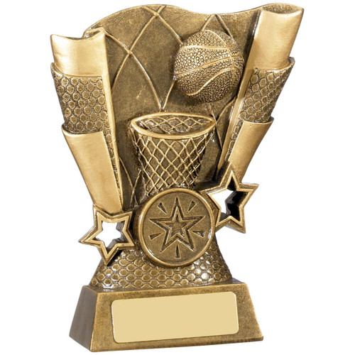 Scroll Basketball award in an antique gold finish available in 2 budget sizes