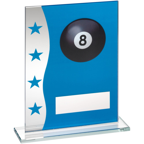Stylish Blue/silver glass Pool ball trophy at super budget prices from 1st Place 4 Trophies