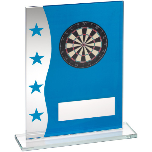 Stylish Blue and silver glass Darts Board trophy in 3 sizes at cheap prices from 1st Place 4 Trophies