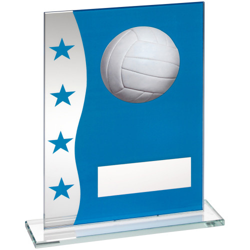 Stylish blue and silver glass Netball trophy in 3 sizes at cheap prices
