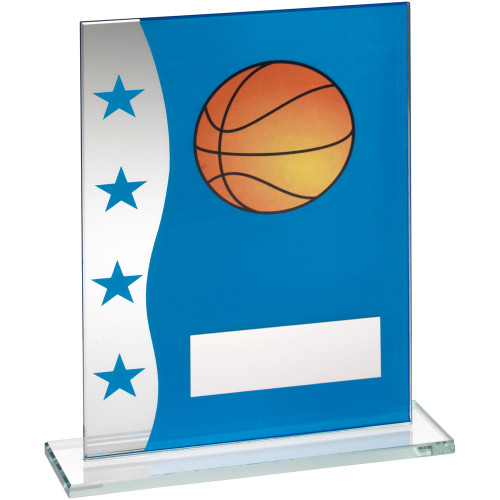 Stylish Blue and silver glass Basketball trophy in 3 sizes at affordable prices