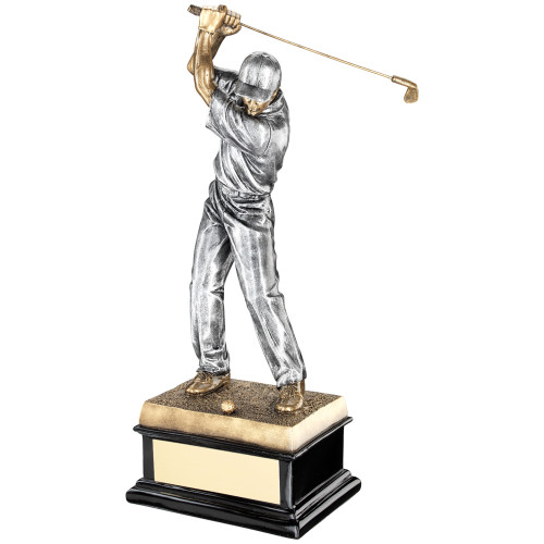 Superior male silver and gold golf award standing on a large sturdy trophy base swinging a golf club
